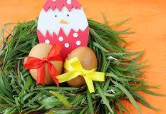 Easter decoration: yellow eggs and hand made hatched chicken in eggshell in green grass twigs nest on orange background Royalty Free Stock Photo