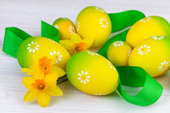 Easter decoration in yellow green color Royalty Free Stock Photos