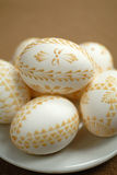 Easter decorations. Easter - colored eggs, hand made Royalty Free Stock Photos