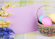 Easter Decorations with Blank Envelope Stock Images