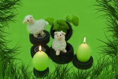 Easter decorations with candles . Royalty Free Stock Images