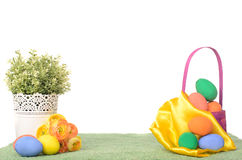 Easter decorations with colored eggs Stock Photo