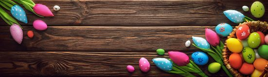 Easter Decorations on Dark Wooden Background Stock Image