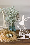 Easter decorations, eggs, flowers, Easter Bunny. Stock Photography