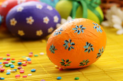 Easter decorations eggs with  painted flowers Stock Photography