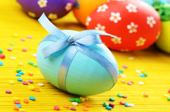 Easter decorations eggs with  painted flowers Royalty Free Stock Photos