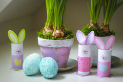 Easter decorations homemade bunnies eggs flowerpots. Easter decorations homemade. Bunnies, easter eggs and flowerpots made at home by children Royalty Free Stock Photography