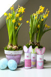 Easter decorations homemade bunnies eggs flowerpots Stock Image