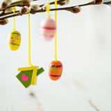 Easter decorations on pussy willow. Copy space Royalty Free Stock Photo