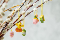 Easter decorations on pussy willow. Copy space Stock Images