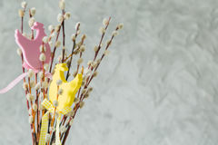 Easter decorations on pussy willow. Copy space Stock Photos