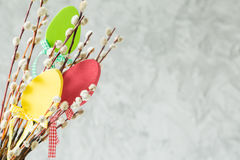 Easter decorations on pussy willow. Copy space Royalty Free Stock Photography