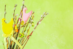 Easter decorations on pussy willow. Copy space Stock Photography