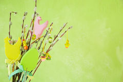 Easter decorations on pussy willow. Copy space Stock Photo