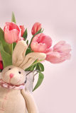 Easter decorations with rabbit and tulips Royalty Free Stock Images