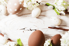Easter decorations with spring flowers Stock Image