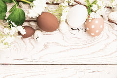 Easter decorations with spring flowers Royalty Free Stock Photo