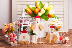 Easter decorations on the table Royalty Free Stock Photo