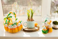 Easter textile basket. Easter decorations - textile basket with eggs and rabbits Stock Photo