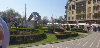 Easter decorations in Timisoara Romania Union Square for Catholic and Orthodox Easter Holidays - carrots eggs bunnies rabbit. Easter decorations timisoara royalty free stock photo