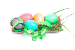 Easter decorations tray Stock Photos