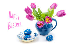 Easter decorations with tulips and painted eggs Royalty Free Stock Images