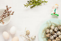 Easter decorations on white from above - spring Stock Photos