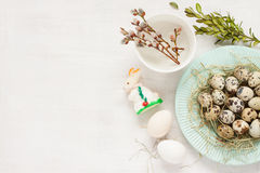 Easter decorations on white from above - spring Royalty Free Stock Image