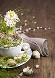 Easter decorations with white pearl hyacinth on wood Stock Photo