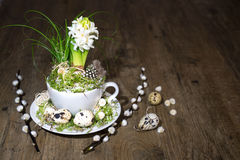 Easter decorations with white pearl hyacinth on wood Royalty Free Stock Image