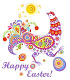 Easter decorative card with funny hen Stock Photos