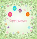 Easter decorative card with hanging egg Royalty Free Stock Photography