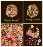 Easter decorative cards with colorful floral eggs, funny hen and wallpaper Stock Photos