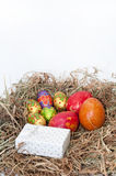 Easter decorative chocolate and chicken eggs in the nest with wh Stock Images
