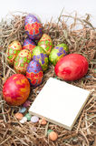 Easter decorative chocolate eggs in the nest with empty note pap Royalty Free Stock Images