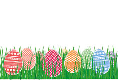 Easter decorative colorful eggs in the grass. Greeting card  Stock Photo