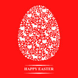 Easter decorative egg on red background Royalty Free Stock Photos