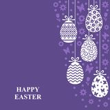Easter decorative eggs card. Vector illustrations of Easter decorative eggs hanging card with flowers on violet background Stock Photo