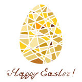 Easter decorative element. Yellow mosaic egg with greeting inscription by hand. Stock Photos