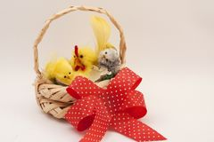 Easter decoration. Nest with red ribbon. Easter decorative nest with red ribbon, three chicks on soft backgroundn Royalty Free Stock Image