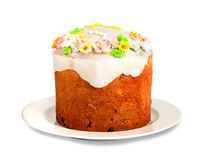 Easter delicious cupcake on white isolated Stock Image