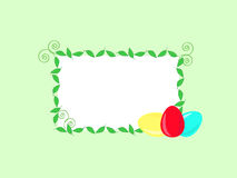 Easter design. Green greeting card with Easter eggs and leaves Stock Image