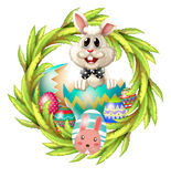An easter design with a bunny, eggs and leafy plant Stock Image