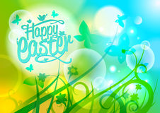 Easter design with butterflies and flowers. Stock Photos