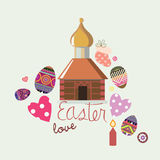 Easter design card with  illustrative elements Royalty Free Stock Photos