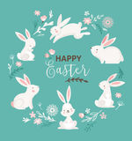 Easter design with cute banny and text, hand drawn illustration Stock Photo