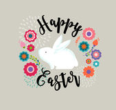 Easter design with cute banny and text, hand drawn illustration Stock Image