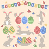 Easter design elements. Collection for easter design with bunnies and colorful eggs. Happy Easter Day. Vector illustration Stock Image