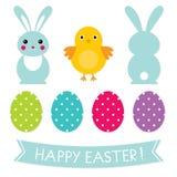 Easter design elements set. Cute Easter design elements set royalty free illustration