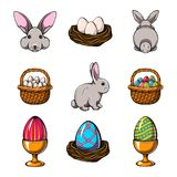 Easter design elements set. Bunny, Colorful eggs, basket. Vector illustration. vector illustration